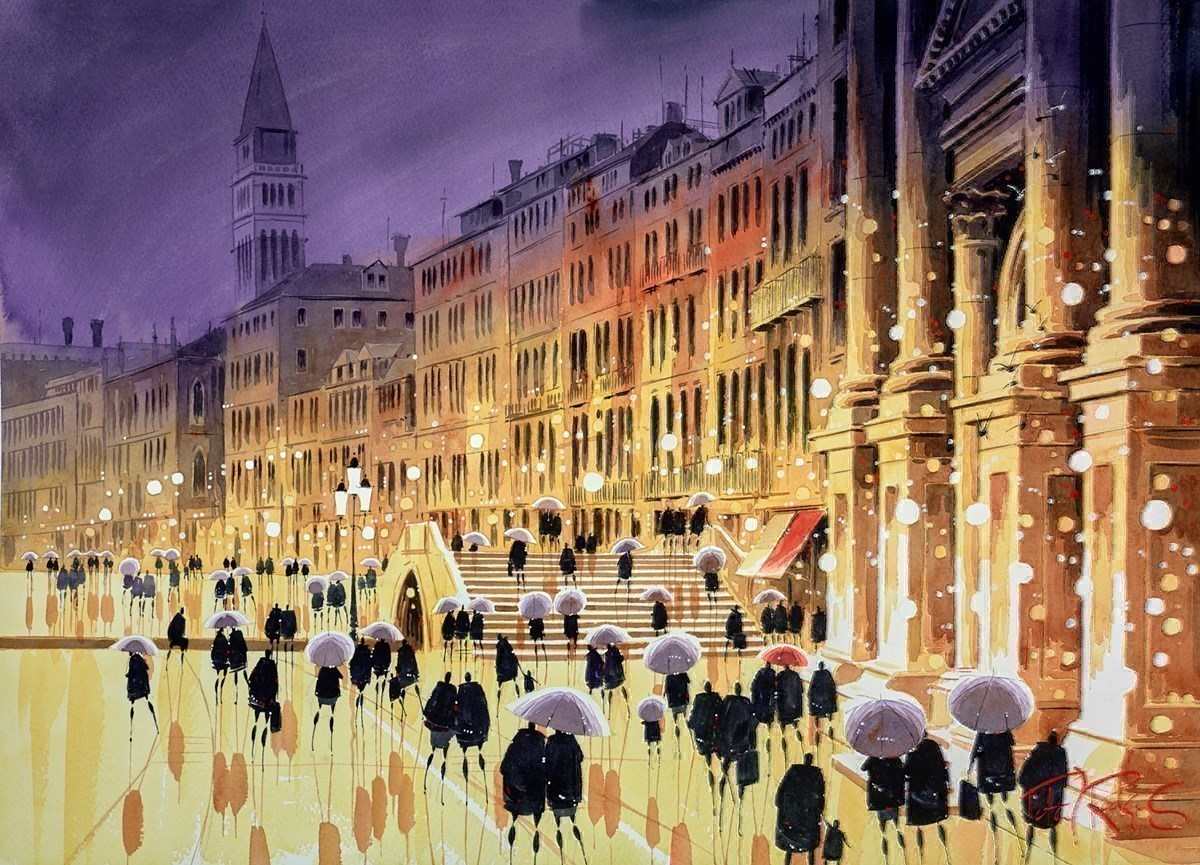 Venice Promenade by Peter J Rodgers -  sized 28x21 inches. Available from Whitewall Galleries